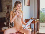Sexy nerd Rebecca Volpetti in tiny intimate lingerie