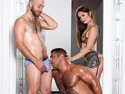 Vanessa Vega in sexy lingerie and husband in mmf bisexual trio