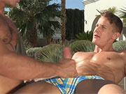 Couple of hot young guys hanging out in their speedos and things turn naughty.