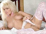 Missy Warner in lace garter stockings