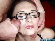 Lusty sluts Demona and Miss Delights take facials in a bukkake