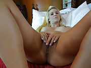 Blonde princess finger fucking herself