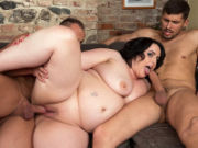 Brunette BBW Sarah Jane gets happy with two studs