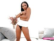 Ebony chick with small tits rides a long white POV pecker