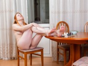 Jana Bay strips naked while playing chess