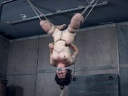 Tess Dagger brunette is rope bound and spread toyed to orgasm