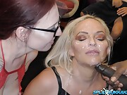 Slutty Louise Lee and Sexy Cleo suck cock in a bukkake party