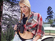 Jessica Drake toys while camping