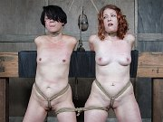 Kel Bowie and Mia Torro in duo rope bondage are toyed by maledom