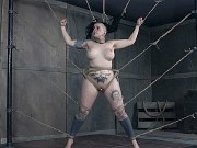 Luna LaVey with big tits in bondage is pussy vibrated to orgasms