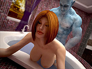 Busty 3D babe fucked by blue genie