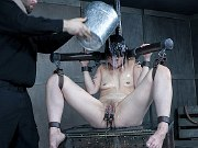 Mia Torro petite asian bound with pussy clamped in kinky dungeon
