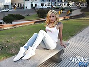 Angeles Cid pornstar flashing tits out on the streets