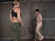 London River blonde femdom spanks and cbt for rope bound male sub