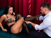 Mary Frost busty footjobs and fucked with cumshot from Sam Frost