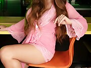Hot tranny slut Bailey Jay in sexy pink outfit has a hard on for you
