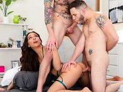 April Olsen lingerie brunette in bisexual trio anal double fucked