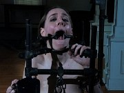 Sierra Cirque outdoors bound in chains for bdsm toying with sex