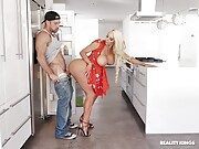 Famous pornstars in the adult industry in kitchen sex action.