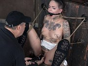 Leigh Raven tattoo babe is rope bound by maledom Matt Williams