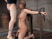 Maddy OReilly in metal bound for double fucking by two dominants