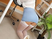 Sexy secretary strips in the office