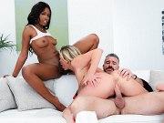 Adira Allure blonde has fun in interracial threesome with couple