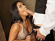 Rose Monroe Latina milf sex in public bathroom