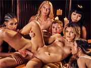 Five heavenly babes share one very lucky dude's hard cock