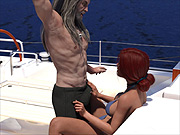 Pleasure romp out at sea with 3D redhead