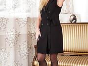 Hot Elegant Eve spreading in sexy black stockings