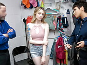 Female officer Brooklyn Gray fucks sexy suspect Ailee with colleague