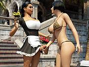 Hot dickgirl maid services for 3D bikini babe