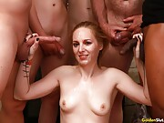 Sexy milf Delerious Hunter gets gangbanged by four dicks