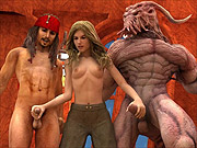 Female pirate in 3D threesome gets DP