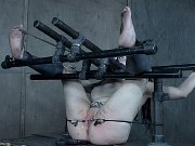 Luna LaVey is bound with pierced tits exposed and pussy clamped