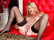Amy Goodhead spreading in stockings on her bed