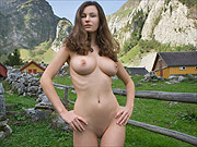 Gorgeous busty erotic nude in the mountains