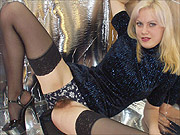 Blonde stockings amateur stripping in shiny room