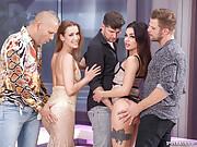 Three hot Euro babes go wild in a livingroom orgy