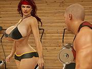 Big boobs 3D redhead gym sex with stud