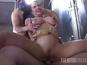 Veronica Avluv swallowing 10 gangbang loads