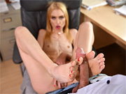 Lady stimulates the cock with her sexy feet and tight pussy