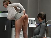 Office dickgirl sex with 3D busty boss