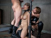 Angel Allwood with huge tits chain bound to machinet by dominants