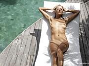 Amazing girl shows off her yellow thong bikini