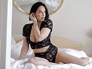 Marisa Ehret seductive brunette black lace lingerie strip-tease