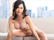 Lusty Japanese shemale Mimi strips nude in heels