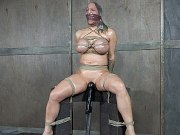 Alyssa Lynn with huge 30HH tits is rope bound for pussy toying