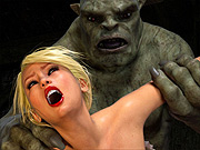 Monster fucks 3D blonde on a table